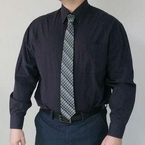 4/$20 Men Cotton Dress Shirt Navy Blue M